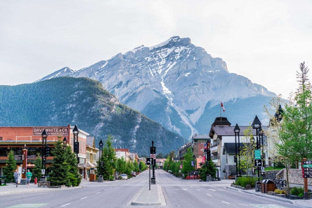 downtown Banff town at sunrise photography
