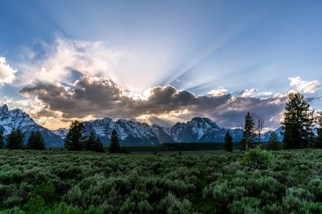 sunset photography of the Grand Tetons