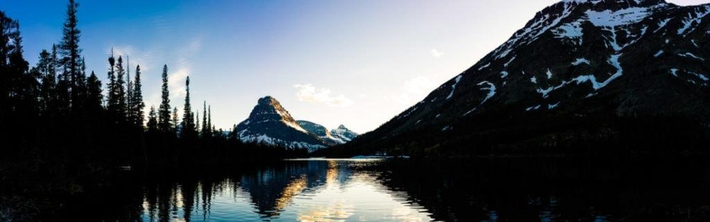 sunset at two medicine lake in Glacier National Park