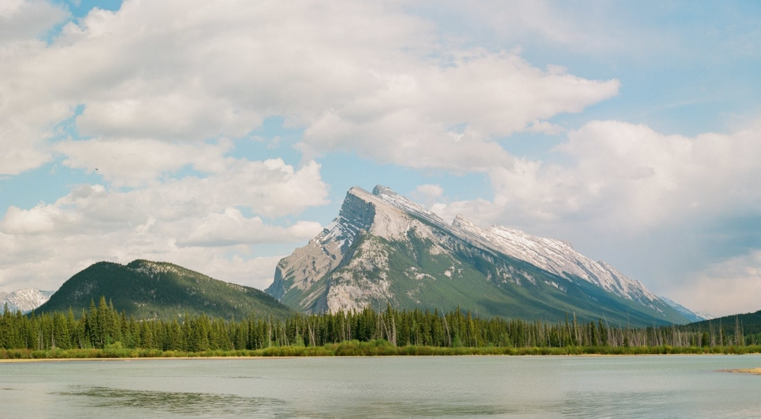 Ektar 100 film photography with a Pentax 645 of a mountain in Banff, Canada