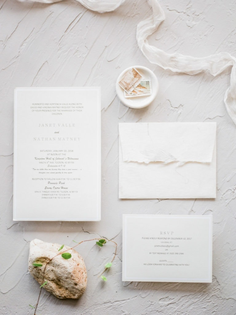 neutral, warm toned invitation suite for a desert wedding in Arizona