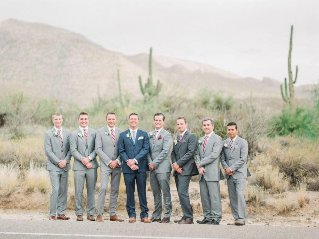 groom and his guys at a wedding in Arizona
