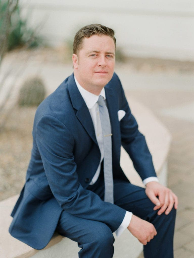 groom at an Arizona destination wedding