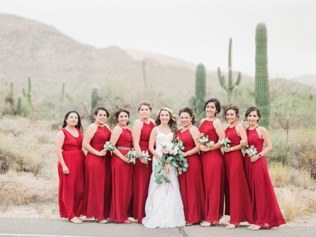 bride and bridesmaids at a wedding in Arizona