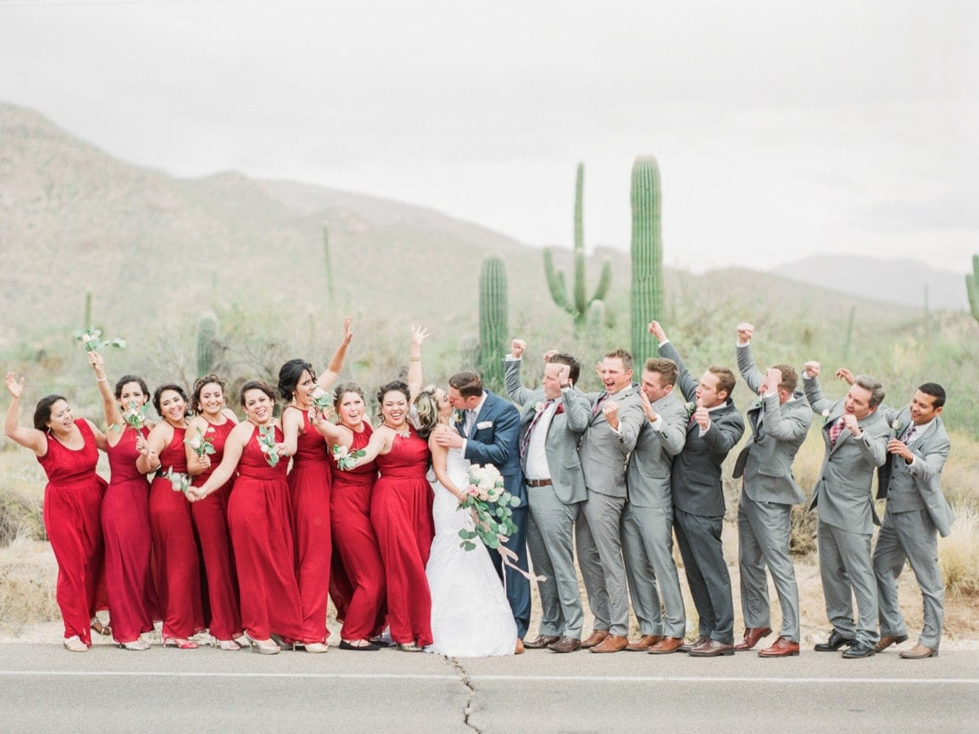 couple and bridal party photos at a desert wedding in Arizona