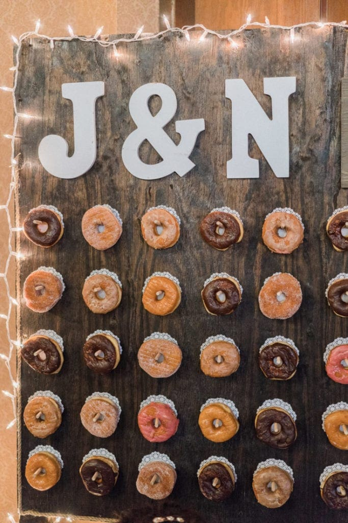 donut wall for a wedding reception