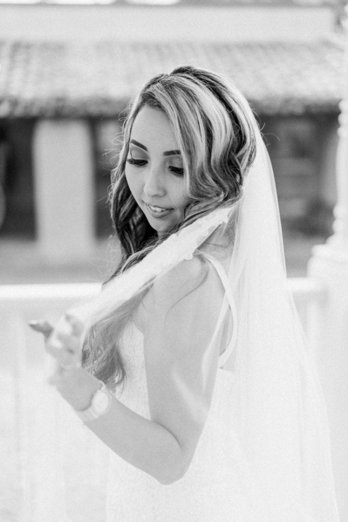 black and white film photography of a bride in Arizona