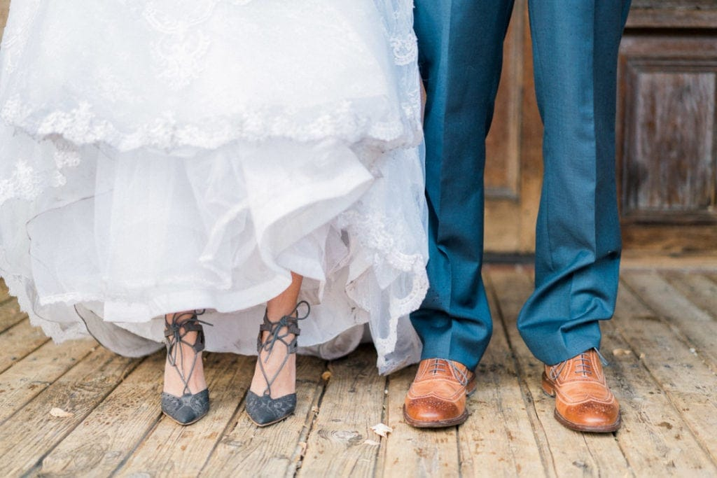 shoes of a couple at a wedding reception in Arizona