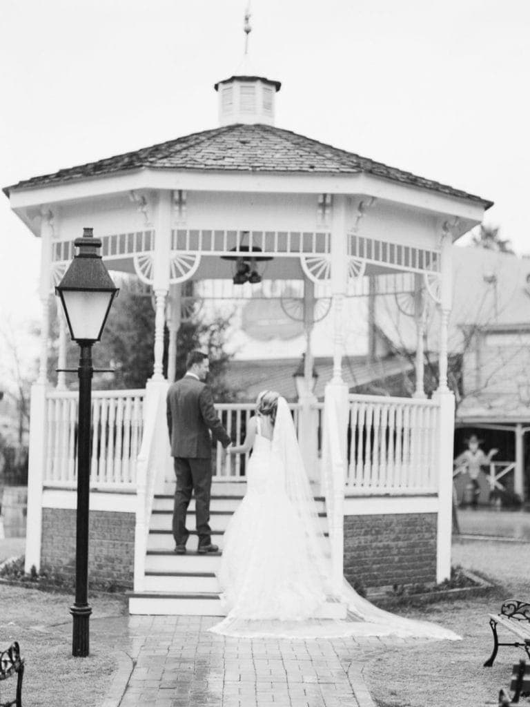 black and white film photography of a wedding in Arizona