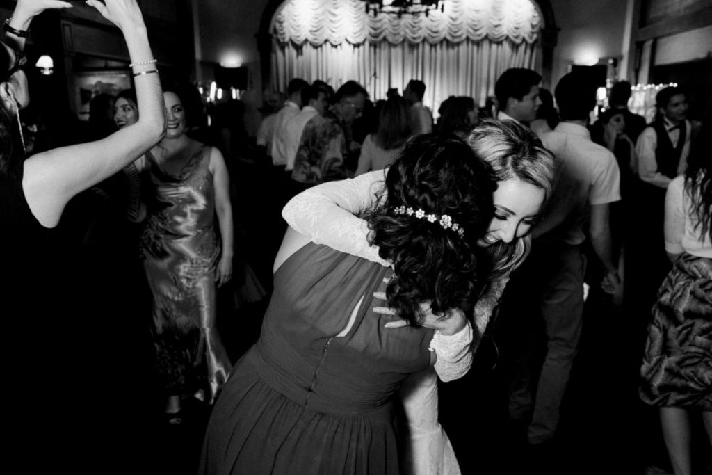 bride having fun at a wedding reception in Arizona