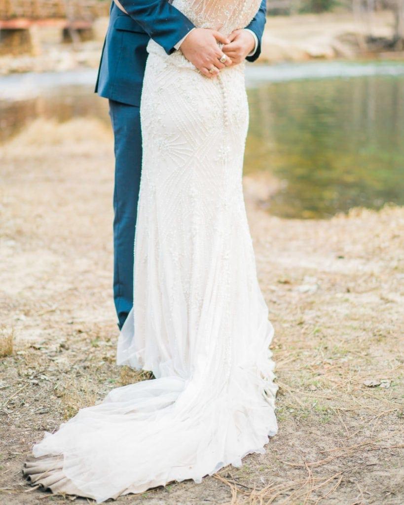 dress in an adventure wedding