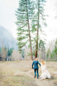 running down a hiking path in Yosemite National Park