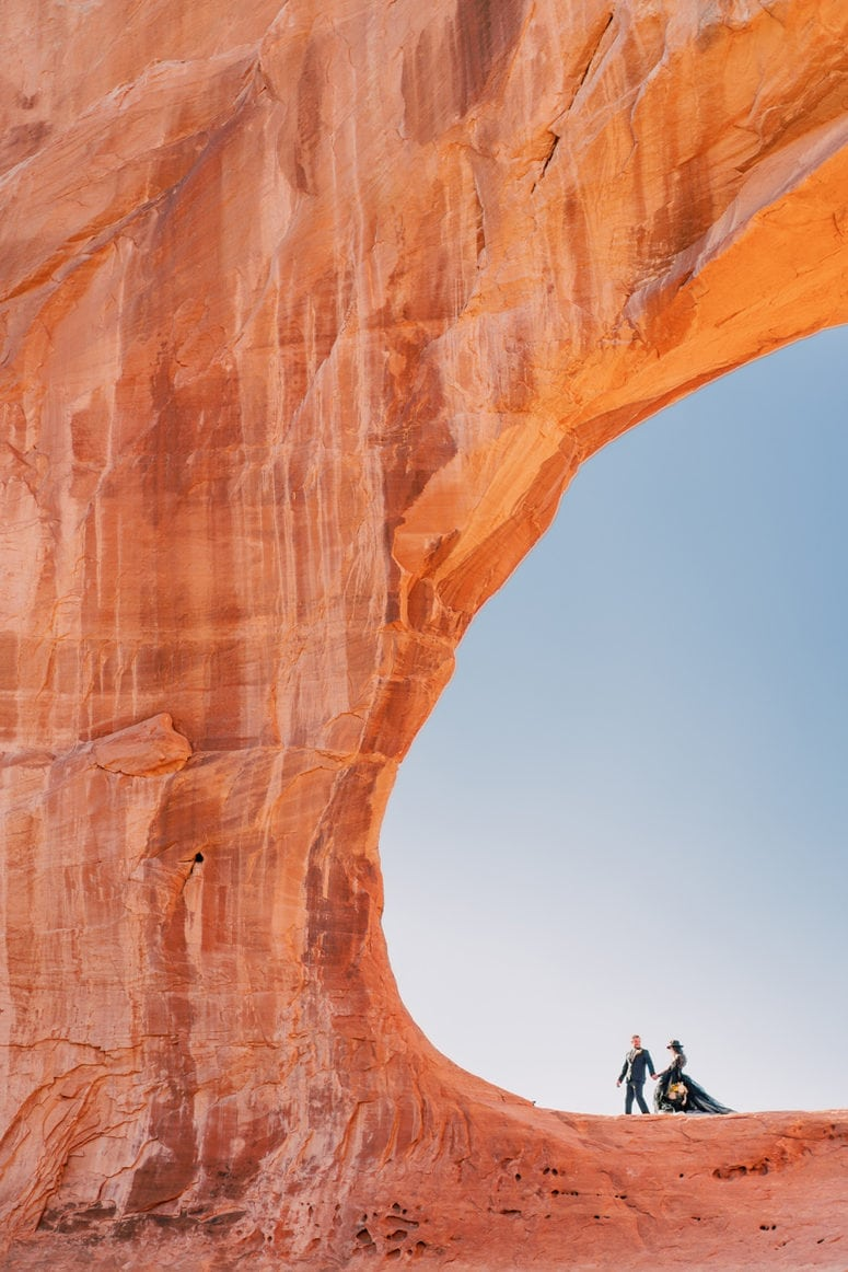 Jadie +Alex | adventure hiking elopement in Arches National Park in Moab, Utah with a black wedding dress