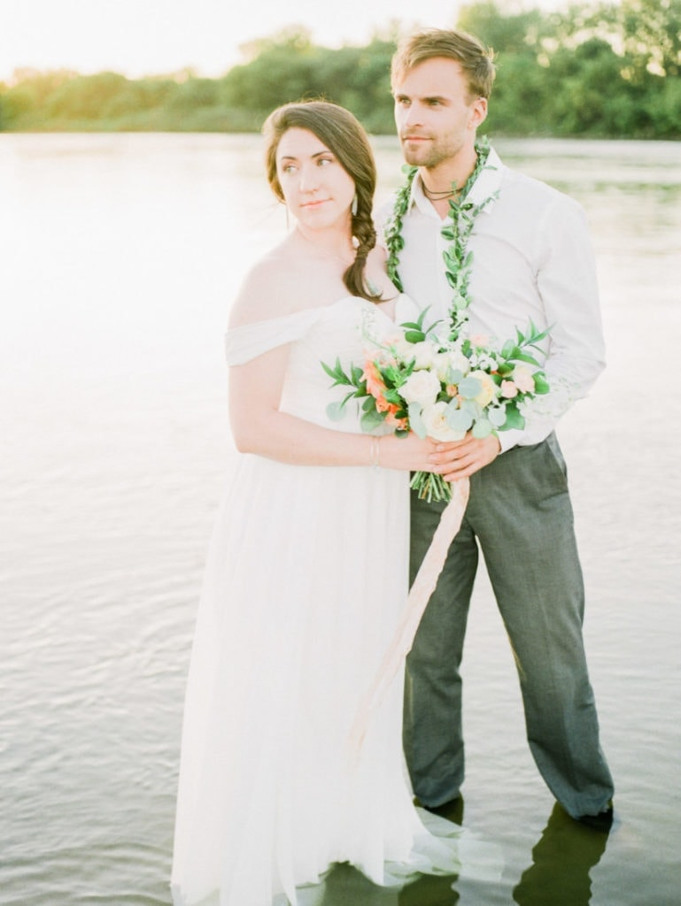 couple's river elopement