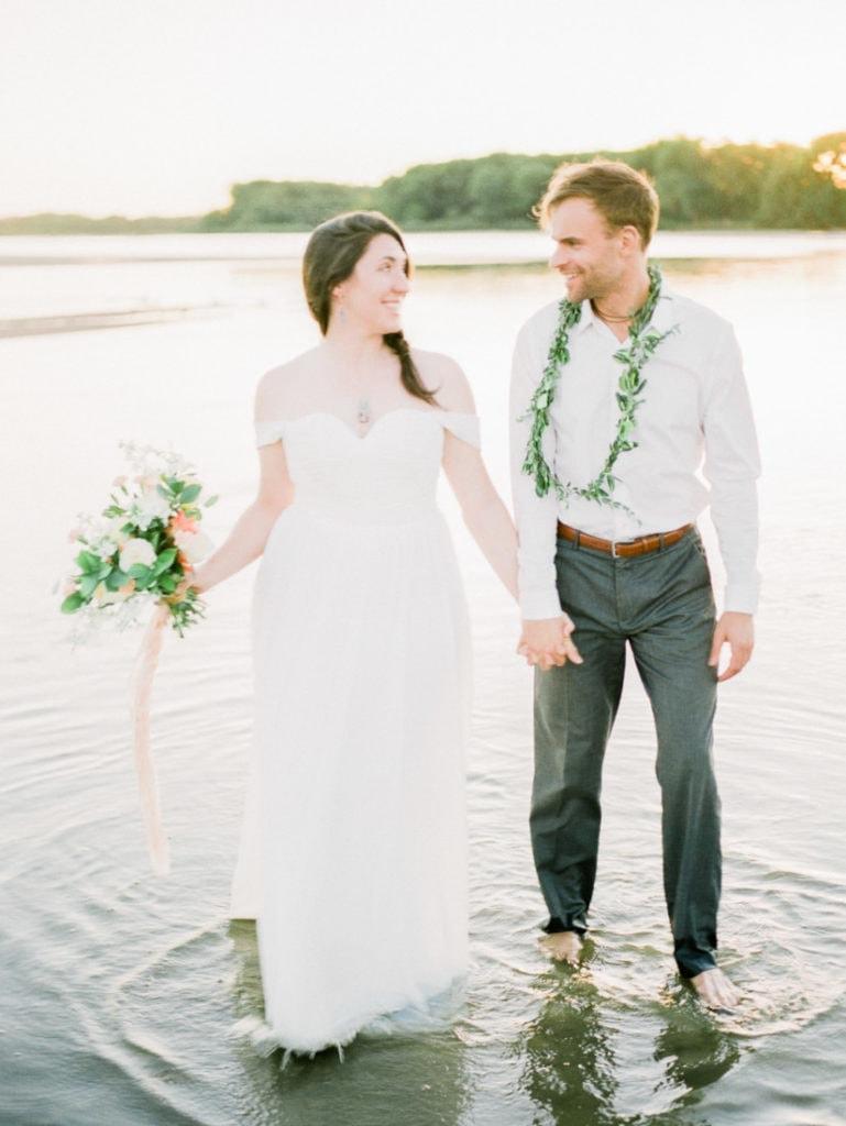 adventurous elopement on a river sandbar