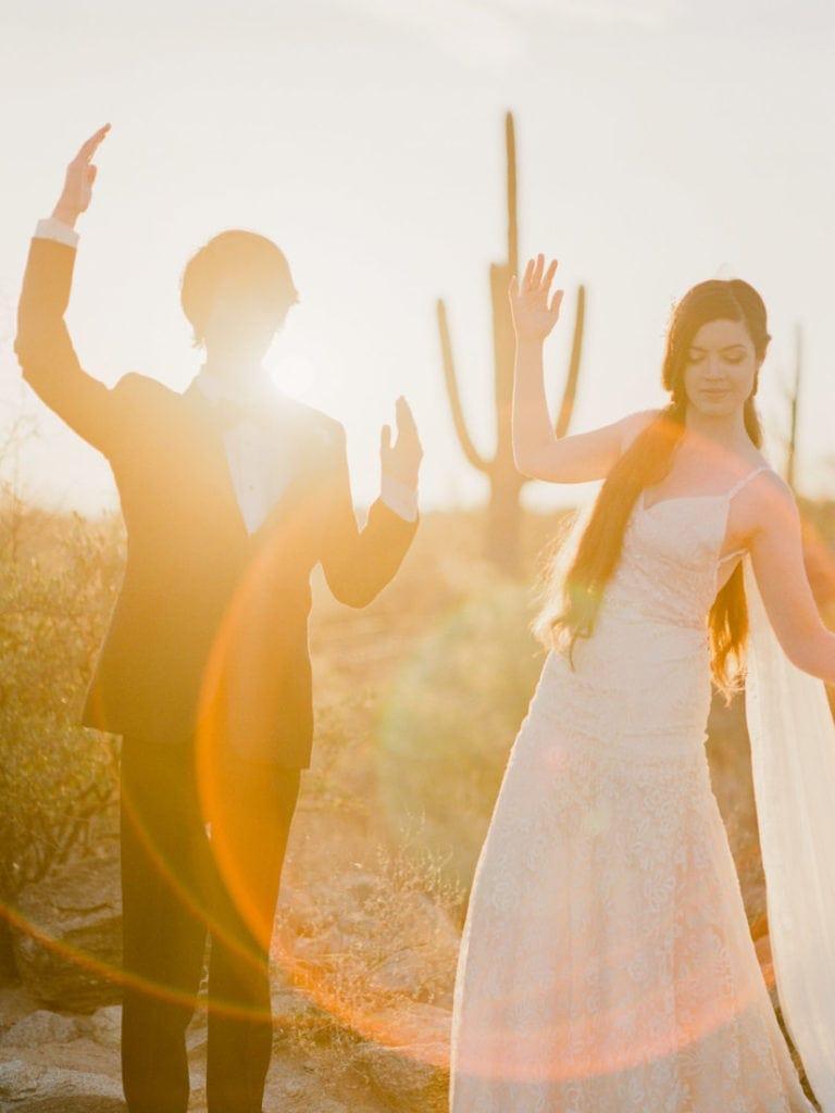 adventure wedding photographer in Arizona in Saguaro National Park