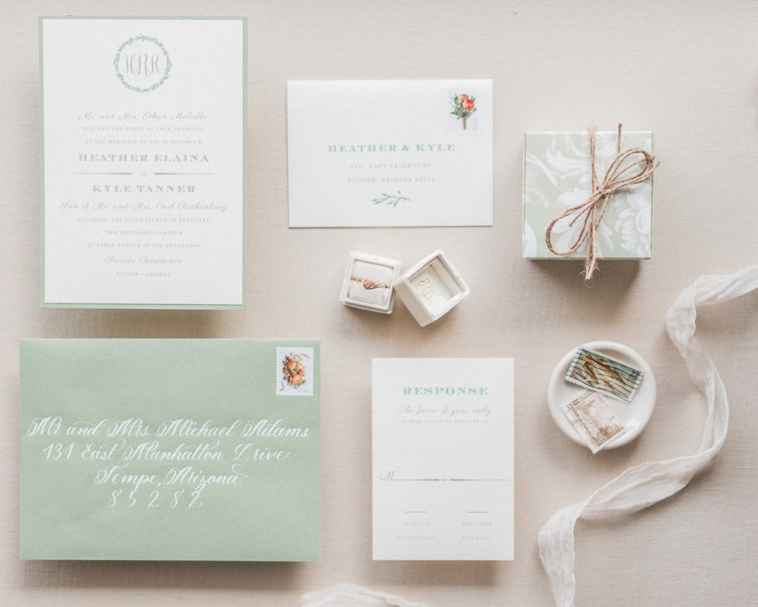 wedding invitation suite for a wedding in Italy