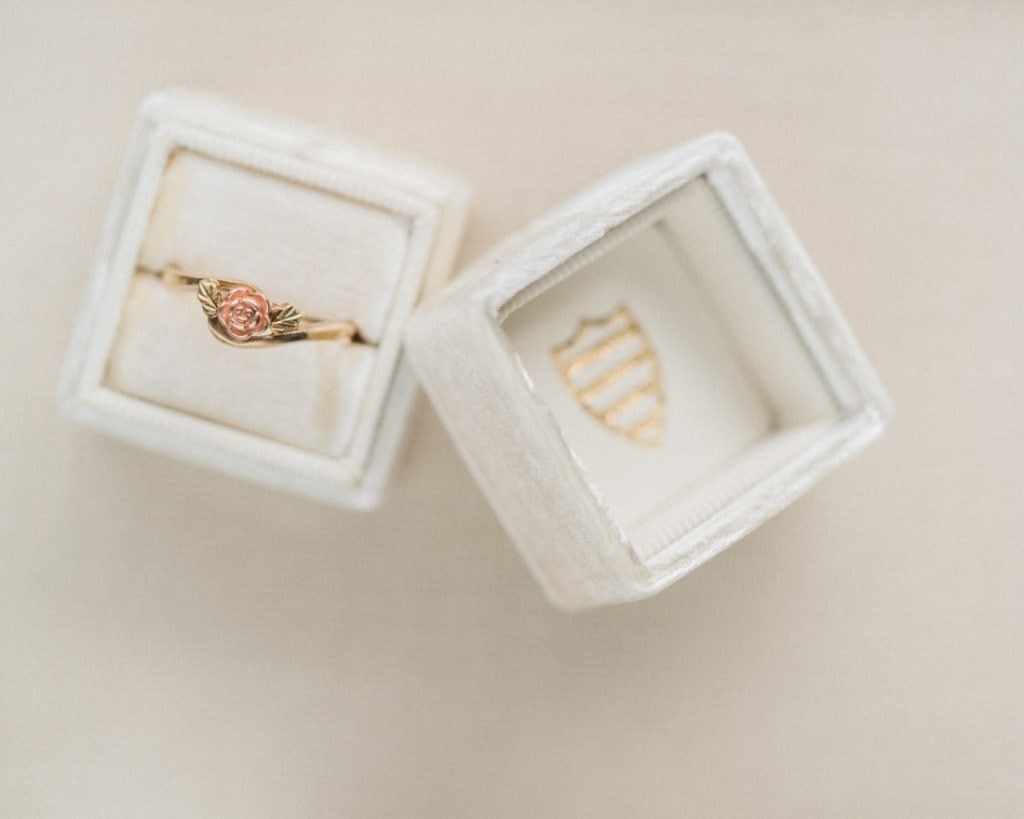 vintage rose gold wedding ring in a vintage Mrs. Box
