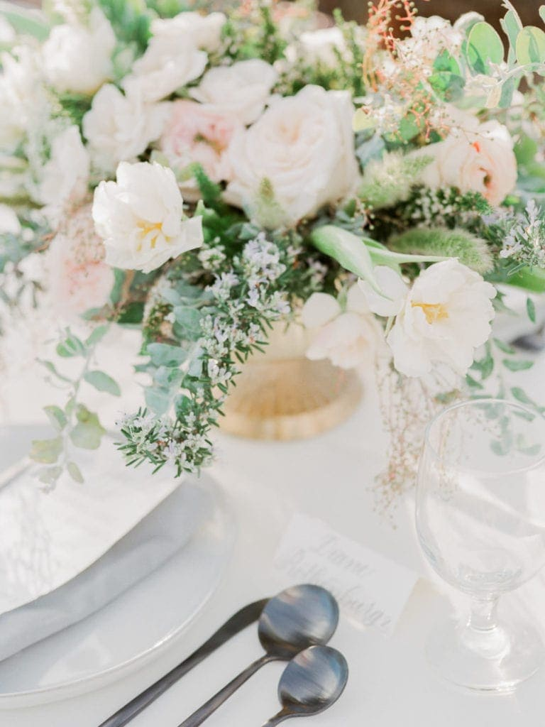 bouquet and table settings at a destination wedding in Italy