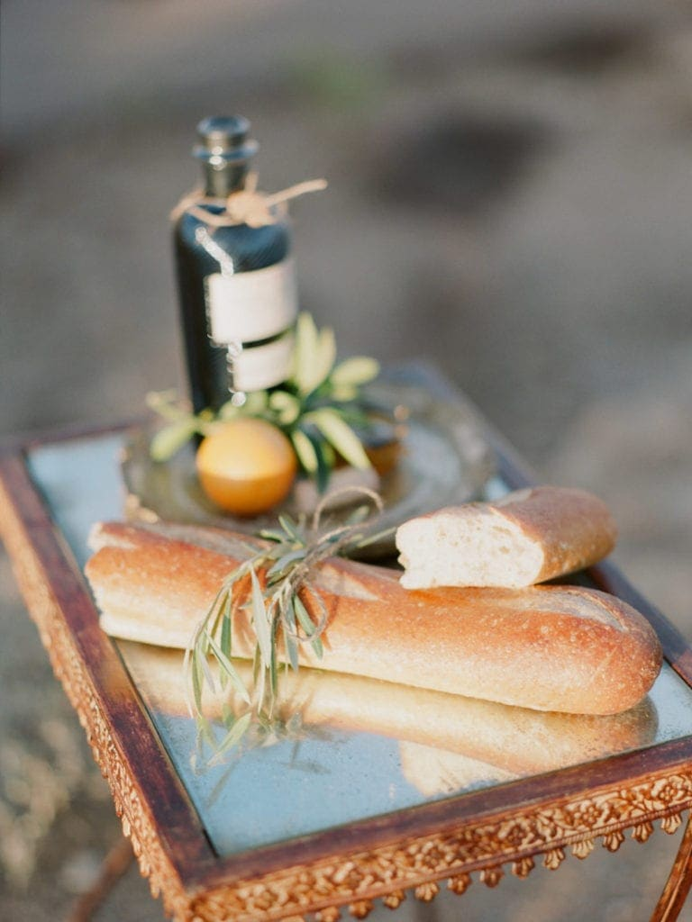 Italian loaf bread and olive oil at a wedding
