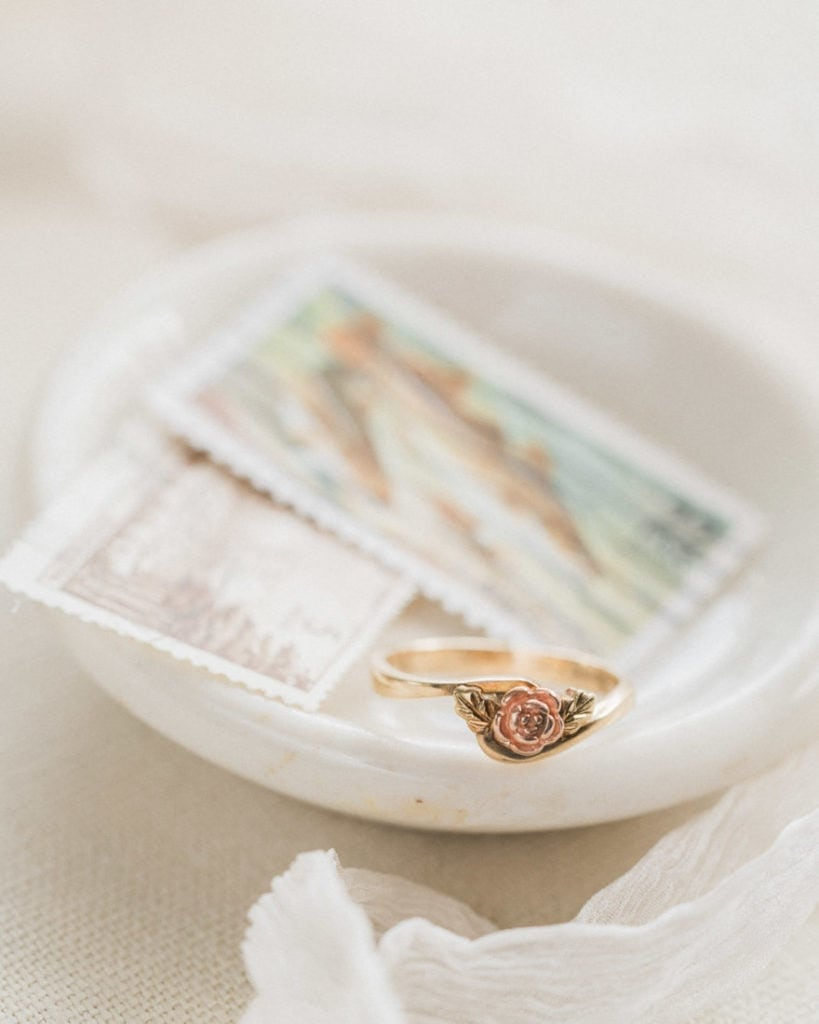 vintage rose gold ring with vintage stamps
