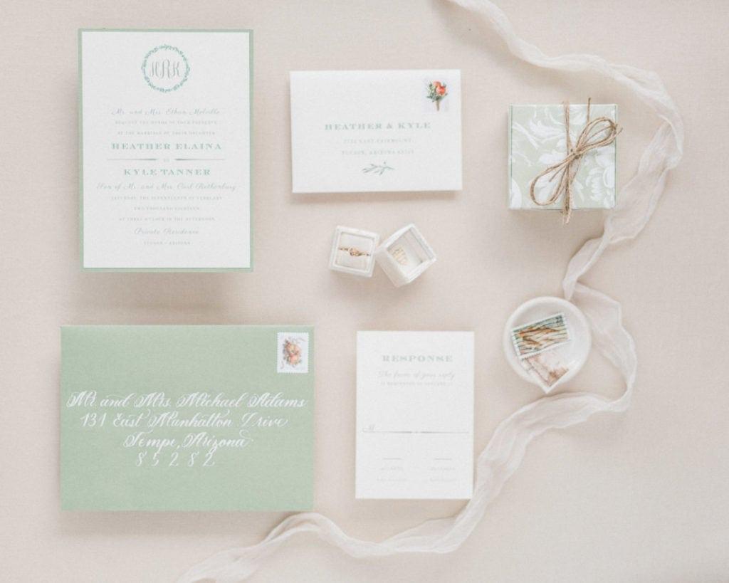 invitation suite for a wedding in Arizona