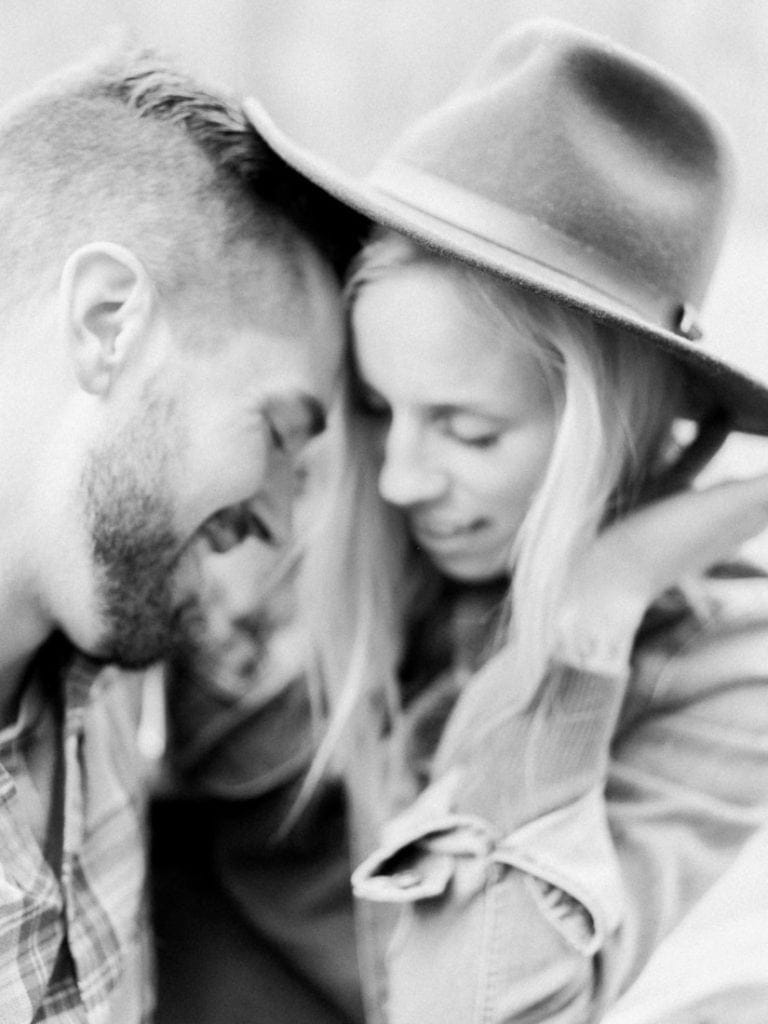 black and white film photography of a couple in California