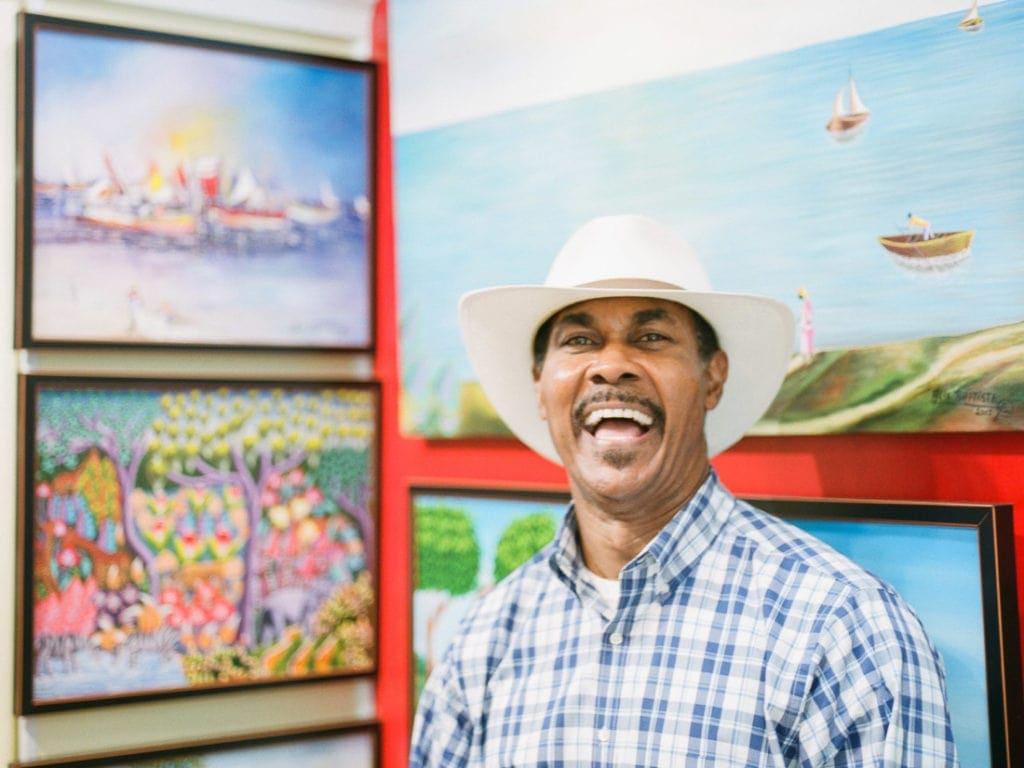 Alex Baptiste in his painting studio in Savannah, GA