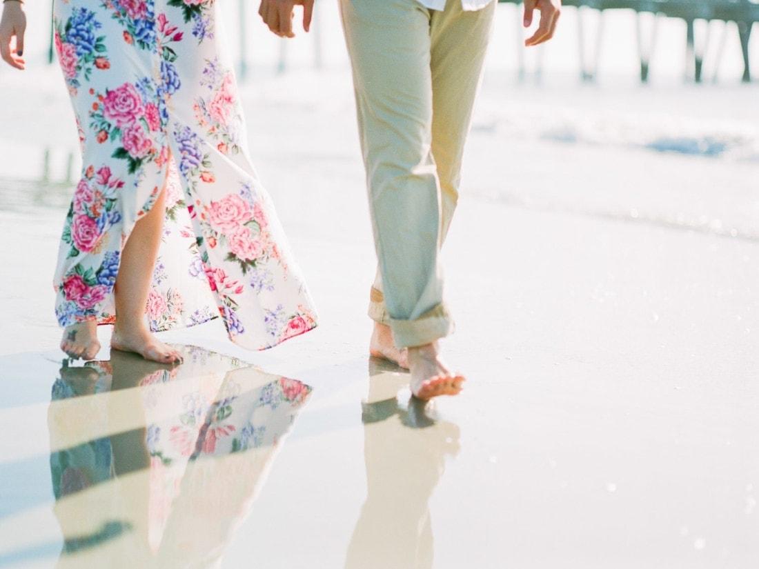 couples feet as they walk on the beach | Savannah wedding photographer