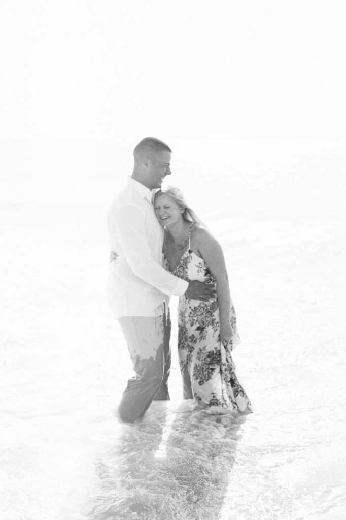 black and white film photography of a couple at Tybee Beach