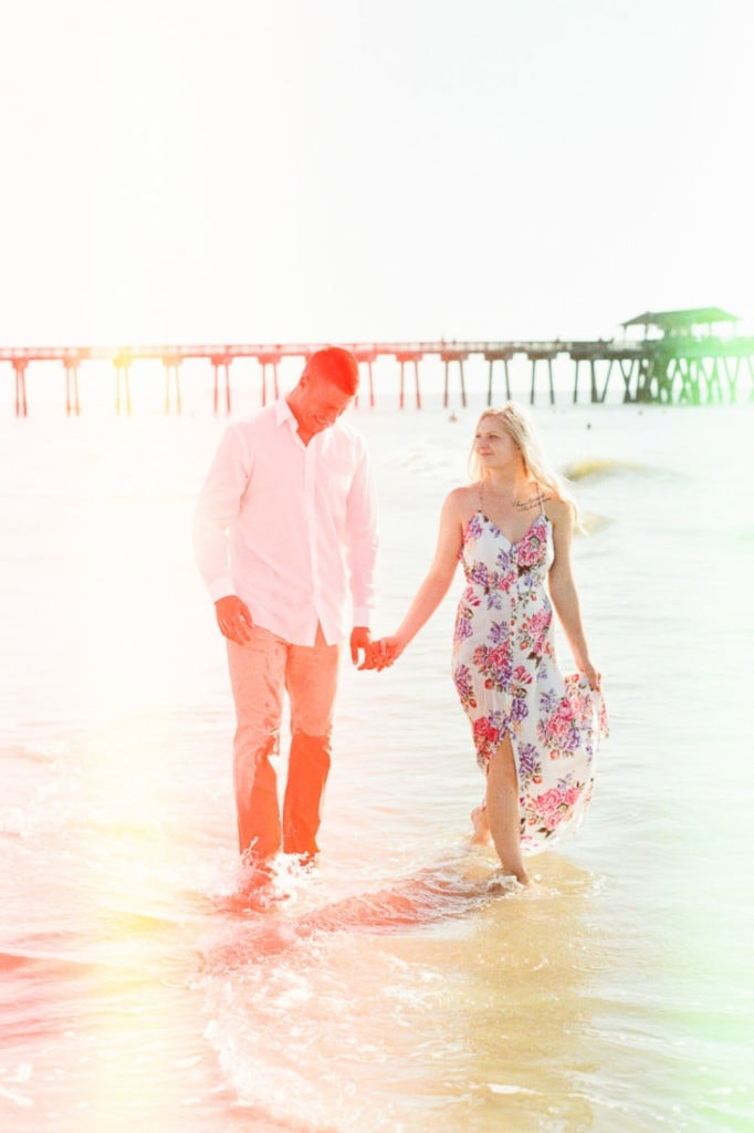 beach engagement session | light leaks and film burns