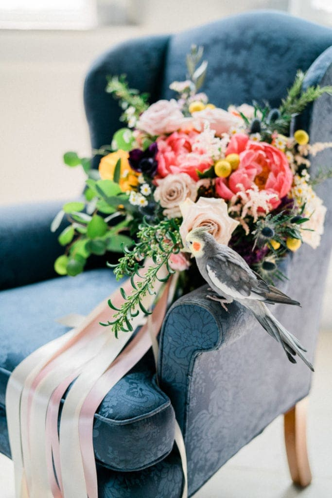 bird with a bride's bouquet sitting on a vintage chair
