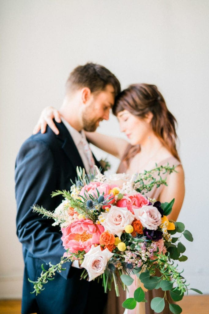Montrose, Colorado adventure wedding and elopement photographer | colorful floral ideas | peony bouquet for a spring wedding | elopement photographer in Colorado