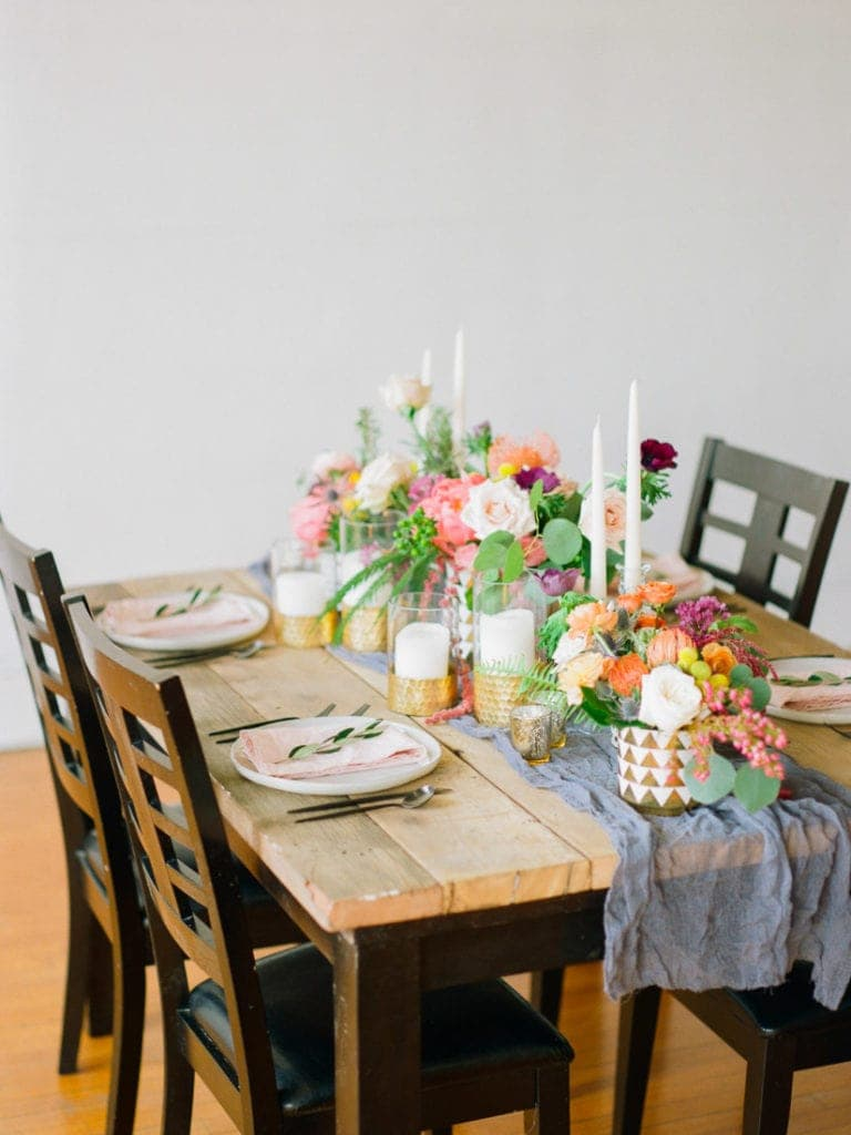 colorful floral table setup at an elopement in Colorado