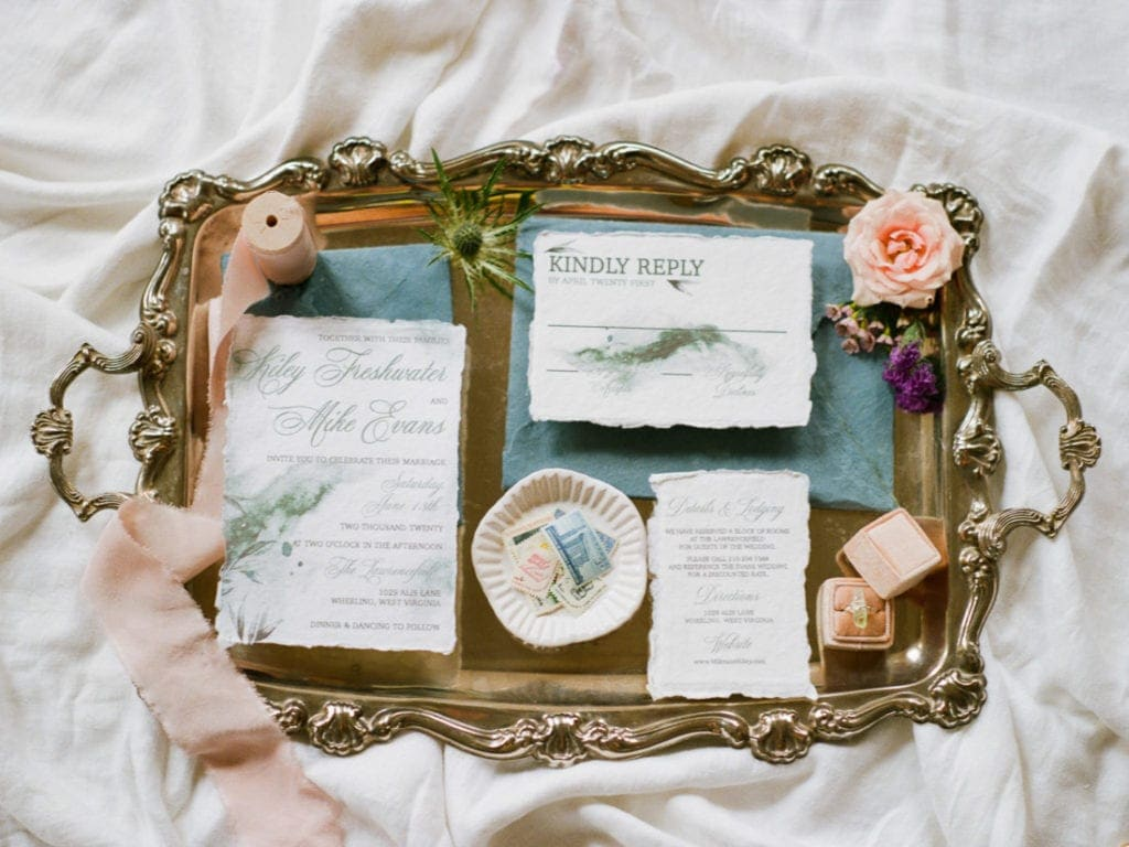 deckled edge blue watercolor invitation suite | vintage wedding ideas