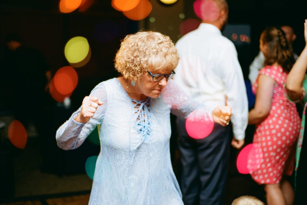 double exposure film photography at a fun wedding reception