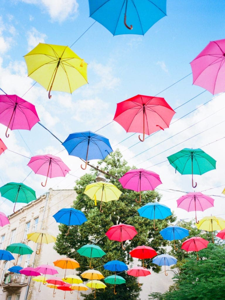 colorful umbrellas street photography in Lviv, Ukraine