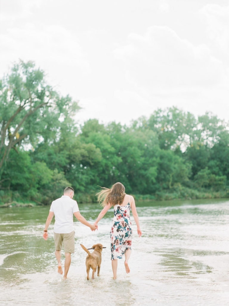 adventure session on the Platte River with their puppy