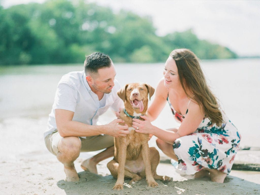 couples adventure session on the Platte River with their puppy
