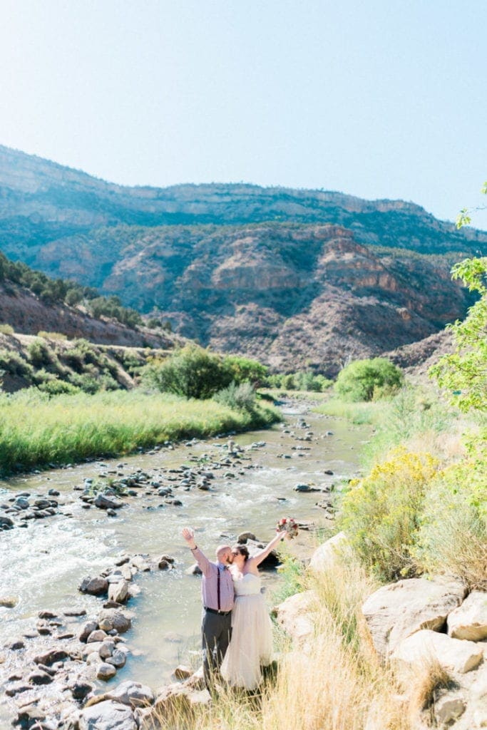 elopement in western Colorado by a river