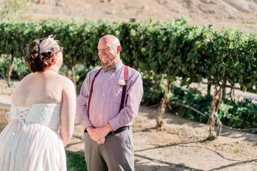 first look at a vineyard wedding in Palisade