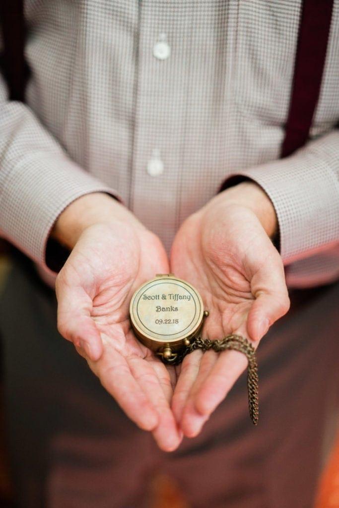 custom engraved wedding compass | wedding photographer for the adventurous