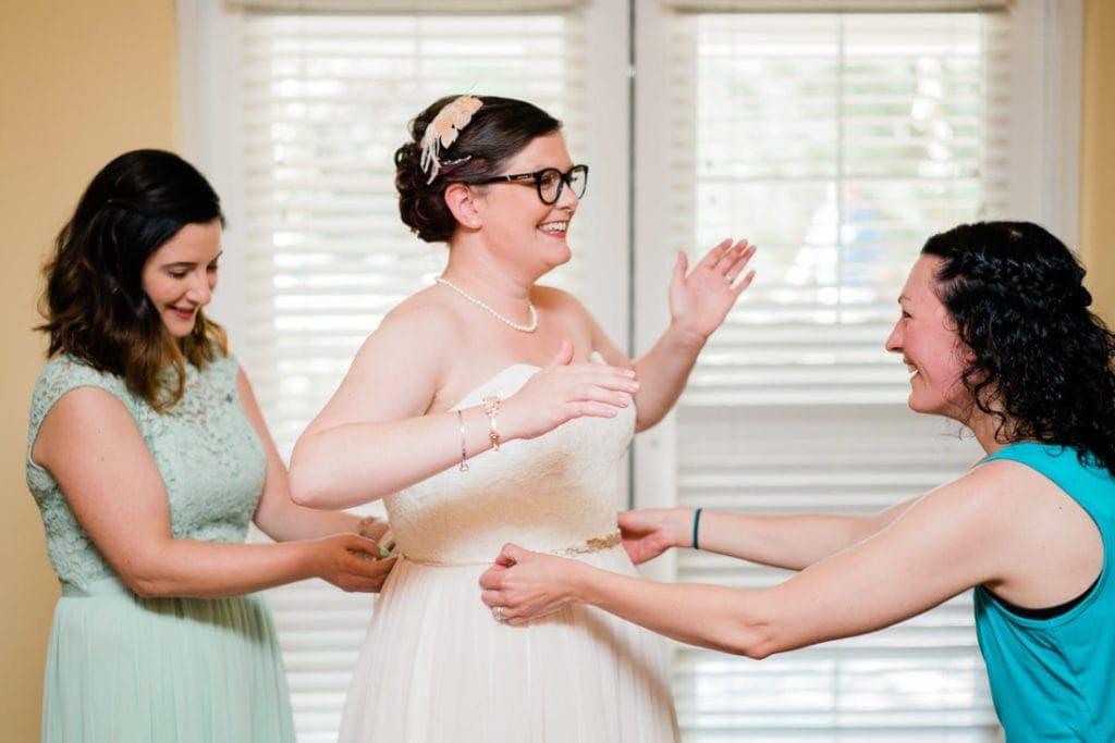bride getting ready for her Colorado wedding