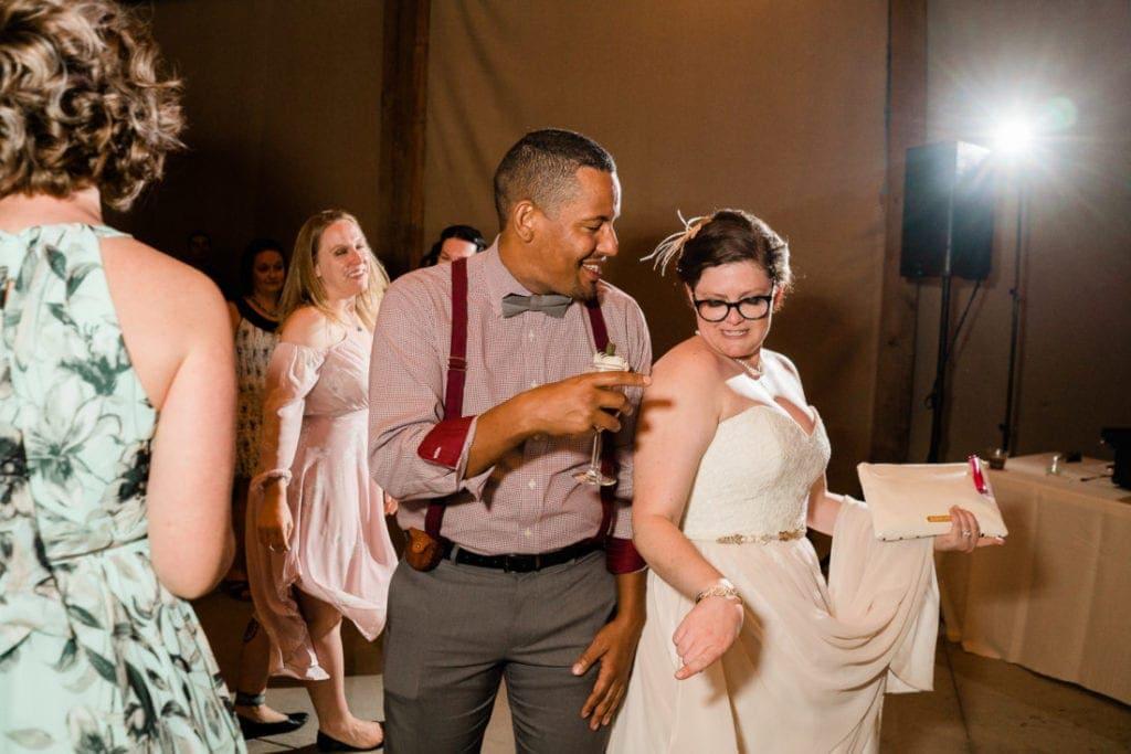 bride ancient world with froedns at a Colorado wedding