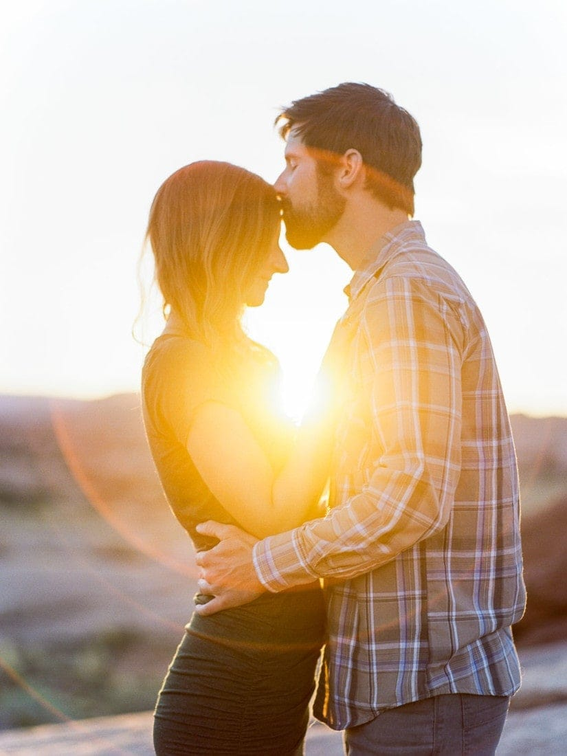 Matt + Suzy | elopement photography in Moab, Utah with light at sunset