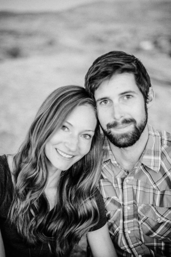 black and white film photography of a couple on their adventure session in Utah