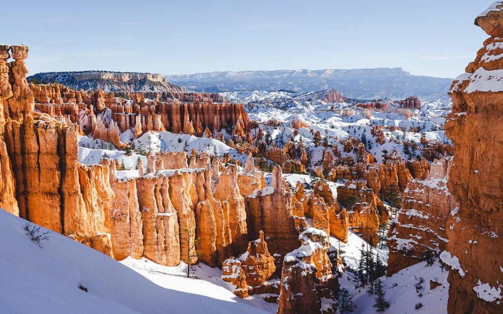Bryce Canyon National Park in winter with snow covered hoodoos