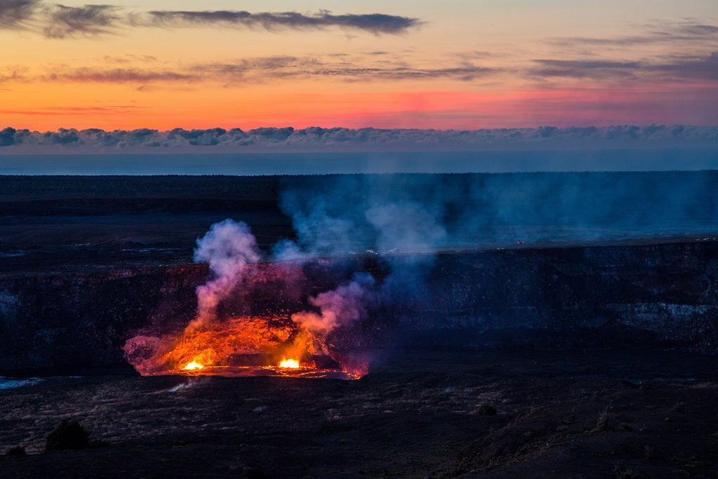Hawaii Volcanoes National Park at sunset
