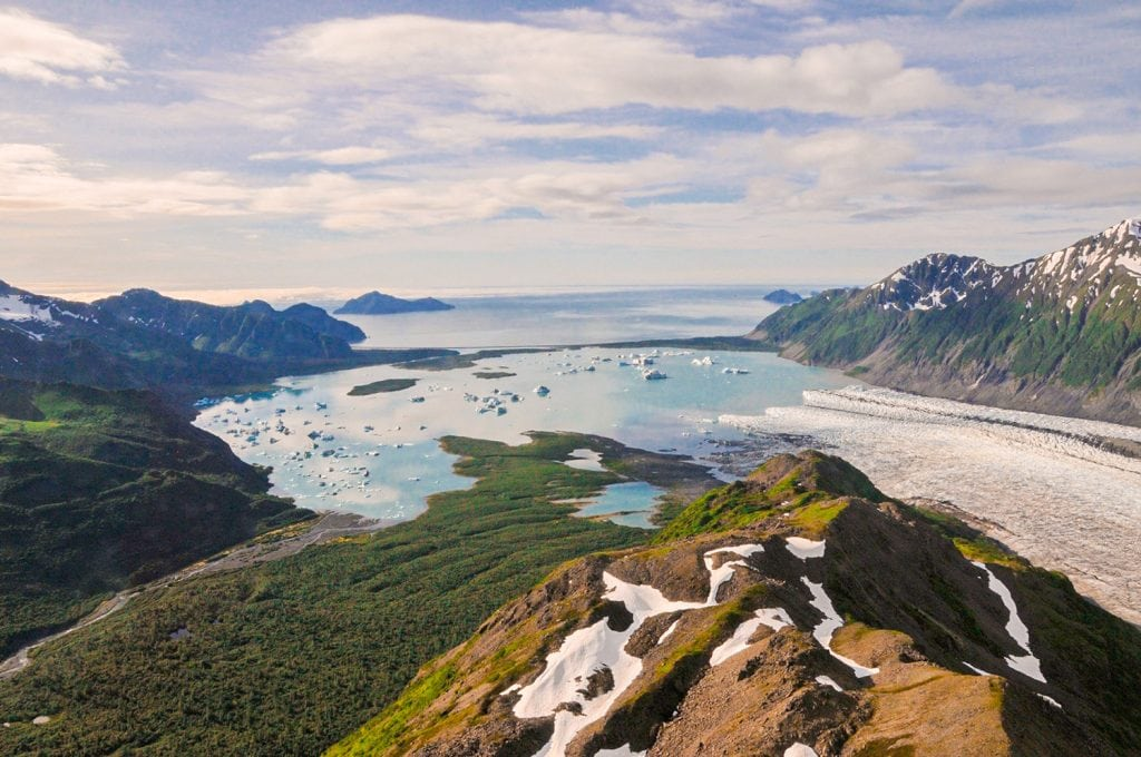 overview of the Fjords & Mountains during summer in Kenai Fjords National Park in Alaska