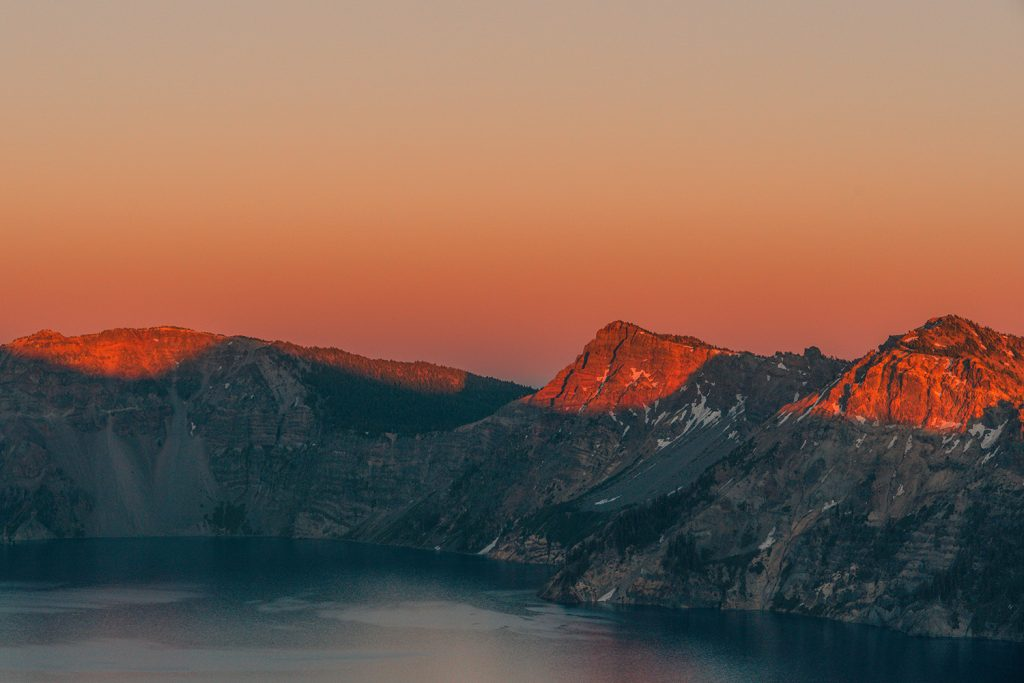 sunset at Crater Lake National Park in Oregon